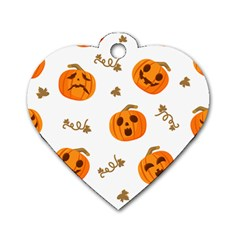 Funny Spooky Halloween Pumpkins Pattern White Orange Dog Tag Heart (two Sides)
