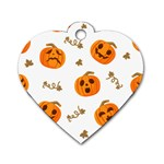 Funny Spooky Halloween Pumpkins Pattern White Orange Dog Tag Heart (Two Sides) Front