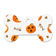 Funny Spooky Halloween Pumpkins Pattern White Orange Dog Tag Bone (two Sides)