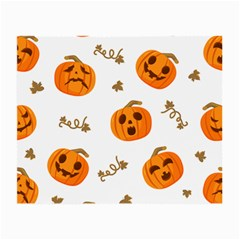 Funny Spooky Halloween Pumpkins Pattern White Orange Small Glasses Cloth (2 Side)