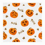 Funny Spooky Halloween Pumpkins Pattern White Orange Medium Glasses Cloth Front