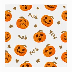 Funny Spooky Halloween Pumpkins Pattern White Orange Medium Glasses Cloth (2 Side)