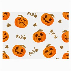 Funny Spooky Halloween Pumpkins Pattern White Orange Large Glasses Cloth (2 Side)