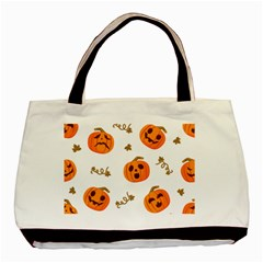 Funny Spooky Halloween Pumpkins Pattern White Orange Basic Tote Bag (two Sides)