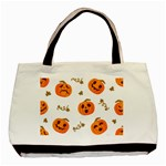 Funny Spooky Halloween Pumpkins Pattern White Orange Basic Tote Bag (Two Sides) Back