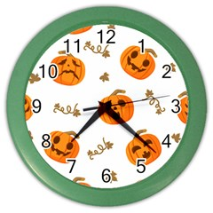 Funny Spooky Halloween Pumpkins Pattern White Orange Color Wall Clock