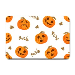 Funny Spooky Halloween Pumpkins Pattern White Orange Small Doormat  by HalloweenParty