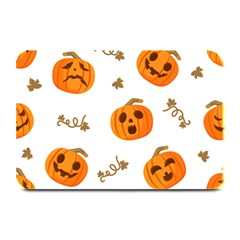 Funny Spooky Halloween Pumpkins Pattern White Orange Plate Mats by HalloweenParty