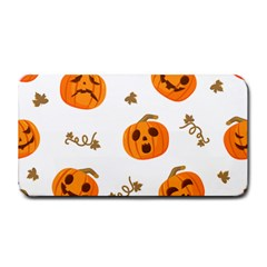 Funny Spooky Halloween Pumpkins Pattern White Orange Medium Bar Mats