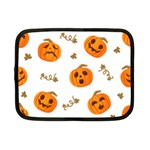 Funny Spooky Halloween Pumpkins Pattern White Orange Netbook Case (Small) Front