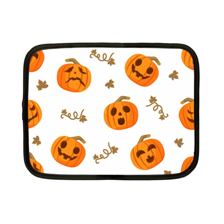 Funny Spooky Halloween Pumpkins Pattern White Orange Netbook Case (Small)