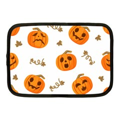 Funny Spooky Halloween Pumpkins Pattern White Orange Netbook Case (medium)