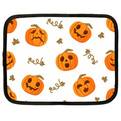 Funny Spooky Halloween Pumpkins Pattern White Orange Netbook Case (large)