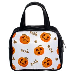 Funny Spooky Halloween Pumpkins Pattern White Orange Classic Handbag (two Sides)