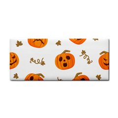 Funny Spooky Halloween Pumpkins Pattern White Orange Hand Towel by HalloweenParty