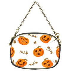 Funny Spooky Halloween Pumpkins Pattern White Orange Chain Purse (two Sides)