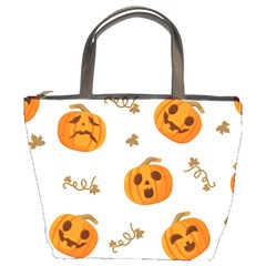 Funny Spooky Halloween Pumpkins Pattern White Orange Bucket Bag