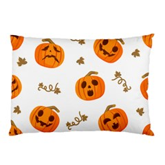 Funny Spooky Halloween Pumpkins Pattern White Orange Pillow Case