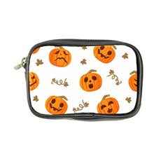Funny Spooky Halloween Pumpkins Pattern White Orange Coin Purse