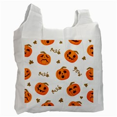Funny Spooky Halloween Pumpkins Pattern White Orange Recycle Bag (two Side)