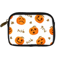 Funny Spooky Halloween Pumpkins Pattern White Orange Digital Camera Leather Case