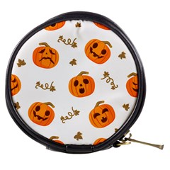 Funny Spooky Halloween Pumpkins Pattern White Orange Mini Makeup Bag