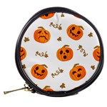 Funny Spooky Halloween Pumpkins Pattern White Orange Mini Makeup Bag Back