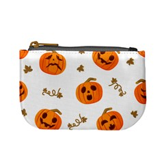 Funny Spooky Halloween Pumpkins Pattern White Orange Mini Coin Purse