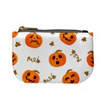 Funny Spooky Halloween Pumpkins Pattern White Orange Mini Coin Purse Front