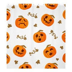 Funny Spooky Halloween Pumpkins Pattern White Orange Shower Curtain 66  X 72  (large)
