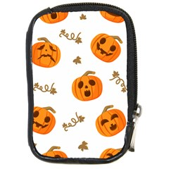 Funny Spooky Halloween Pumpkins Pattern White Orange Compact Camera Leather Case