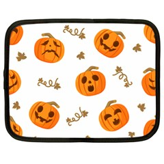 Funny Spooky Halloween Pumpkins Pattern White Orange Netbook Case (xl) by HalloweenParty