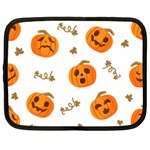 Funny Spooky Halloween Pumpkins Pattern White Orange Netbook Case (XL) Front