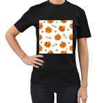 Funny Spooky Halloween Pumpkins Pattern White Orange Women s T-Shirt (Black) Front