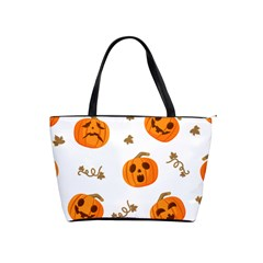 Funny Spooky Halloween Pumpkins Pattern White Orange Classic Shoulder Handbag
