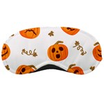 Funny Spooky Halloween Pumpkins Pattern White Orange Sleeping Masks Front