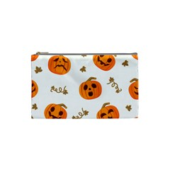 Funny Spooky Halloween Pumpkins Pattern White Orange Cosmetic Bag (small)