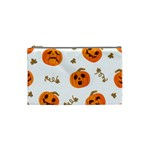 Funny Spooky Halloween Pumpkins Pattern White Orange Cosmetic Bag (Small) Front