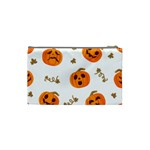 Funny Spooky Halloween Pumpkins Pattern White Orange Cosmetic Bag (Small) Back