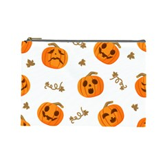 Funny Spooky Halloween Pumpkins Pattern White Orange Cosmetic Bag (large)