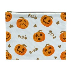 Funny Spooky Halloween Pumpkins Pattern White Orange Cosmetic Bag (xl)