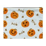 Funny Spooky Halloween Pumpkins Pattern White Orange Cosmetic Bag (XL) Back