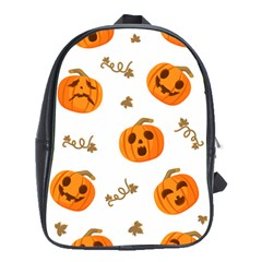 Funny Spooky Halloween Pumpkins Pattern White Orange School Bag (large)