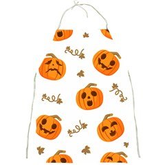 Funny Spooky Halloween Pumpkins Pattern White Orange Full Print Aprons by HalloweenParty