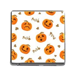 Funny Spooky Halloween Pumpkins Pattern White Orange Memory Card Reader (square 5 Slot)
