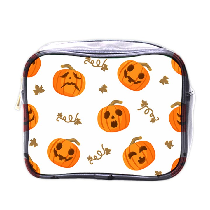 Funny Spooky Halloween Pumpkins Pattern White Orange Mini Toiletries Bag (One Side)