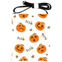 Funny Spooky Halloween Pumpkins Pattern White Orange Shoulder Sling Bag
