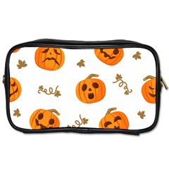 Funny Spooky Halloween Pumpkins Pattern White Orange Toiletries Bag (one Side)