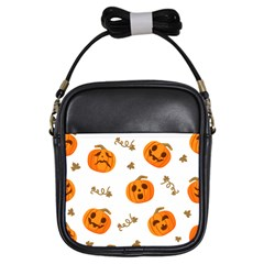 Funny Spooky Halloween Pumpkins Pattern White Orange Girls Sling Bag