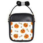 Funny Spooky Halloween Pumpkins Pattern White Orange Girls Sling Bag Front